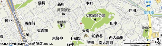 愛知県名古屋市緑区大高町(城山)周辺の地図