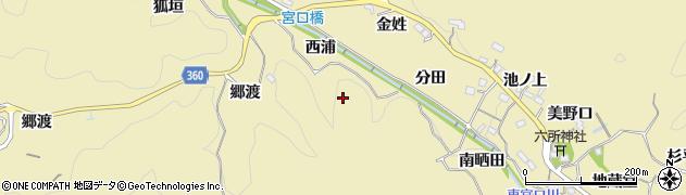 愛知県豊田市坂上町(西浦)周辺の地図