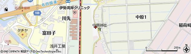 愛知県弥富市中原町周辺の地図