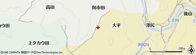 愛知県豊田市豊松町(大平)周辺の地図