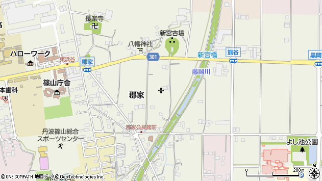 〒669-2341 兵庫県丹波篠山市郡家の地図