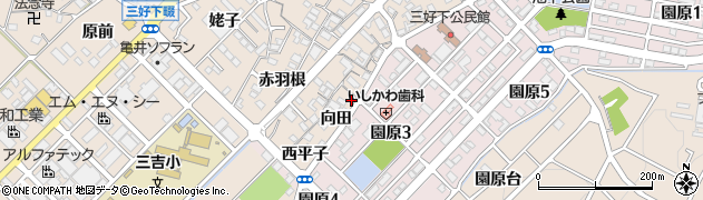 愛知県みよし市三好町(下前田)周辺の地図