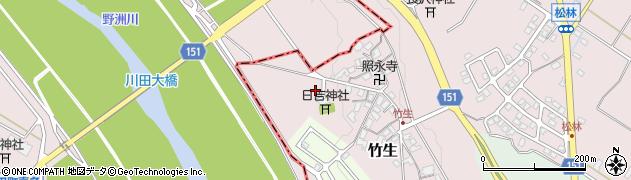 滋賀県野洲市竹生周辺の地図