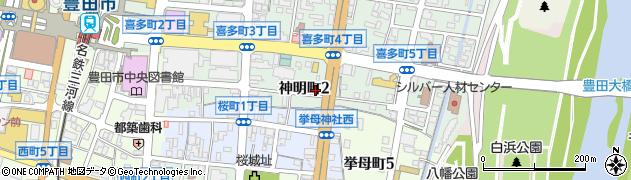 愛知県豊田市神明町周辺の地図