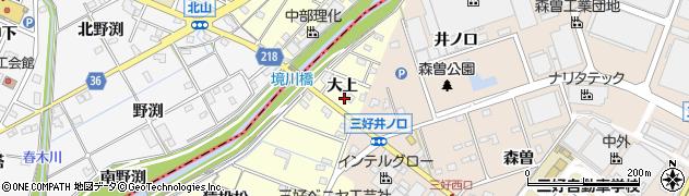 愛知県みよし市西一色町(大上)周辺の地図