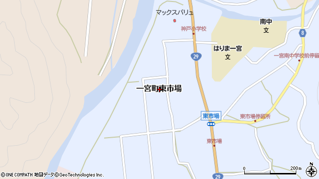 〒671-4132 兵庫県宍粟市一宮町東市場の地図