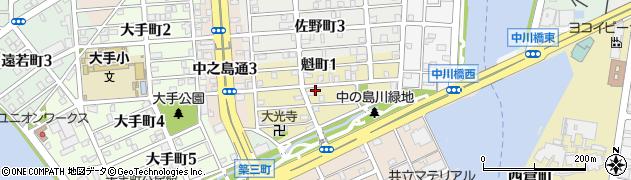 愛知県名古屋市港区魁町周辺の地図