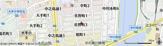 愛知県名古屋市港区佐野町周辺の地図