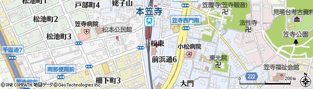 愛知県名古屋市南区笠寺町(松東)周辺の地図