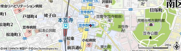 愛知県名古屋市南区笠寺町(西之門)周辺の地図