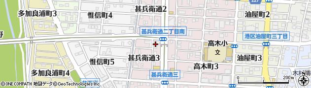 愛知県名古屋市港区甚兵衛通周辺の地図