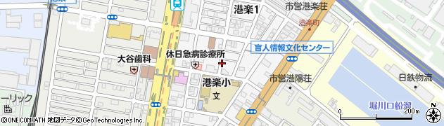愛知県名古屋市港区港楽周辺の地図