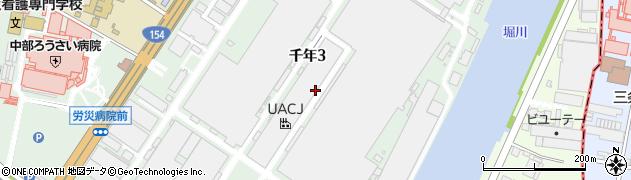 愛知県名古屋市港区千年周辺の地図