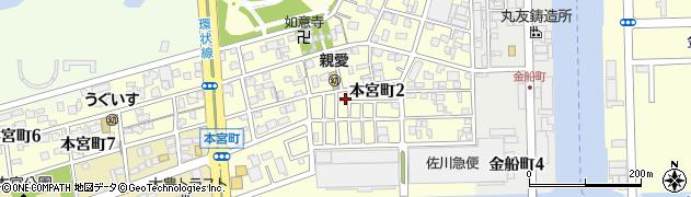 愛知県名古屋市港区本宮町周辺の地図