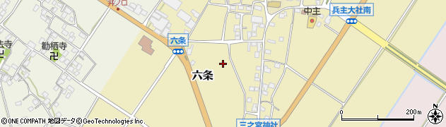 滋賀県野洲市六条周辺の地図