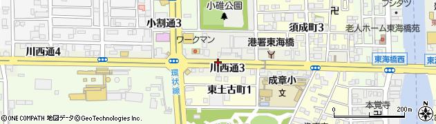 愛知県名古屋市港区川西通周辺の地図