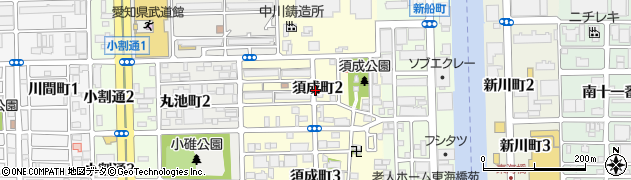 愛知県名古屋市港区須成町周辺の地図