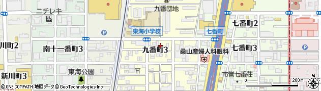 愛知県名古屋市港区九番町周辺の地図