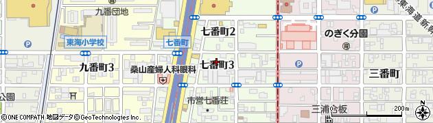 愛知県名古屋市港区七番町周辺の地図