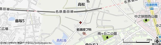 愛知県日進市折戸町(高松)周辺の地図