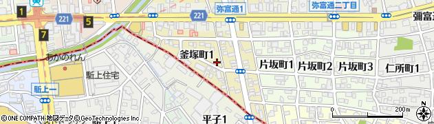愛知県名古屋市瑞穂区釜塚町周辺の地図