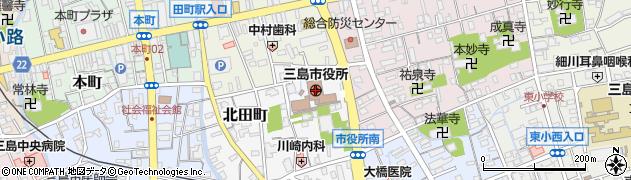 静岡県三島市周辺の地図