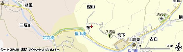 愛知県豊田市上高町(峯)周辺の地図
