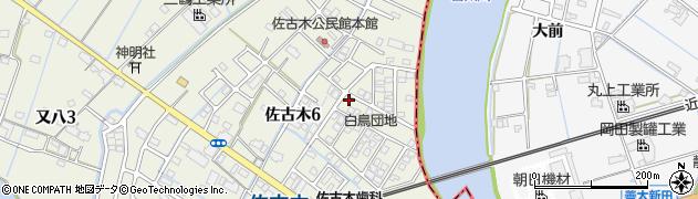 愛知県弥富市佐古木周辺の地図