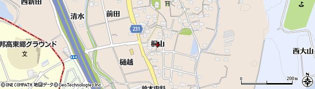 愛知県みよし市黒笹町(桐山)周辺の地図