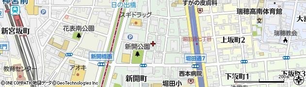 愛知県名古屋市瑞穂区新開町周辺の地図