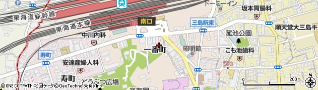 静岡県三島市一番町周辺の地図