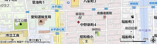 愛知県名古屋市中川区中野新町周辺の地図
