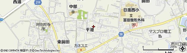 愛知県日進市浅田町(平池)周辺の地図