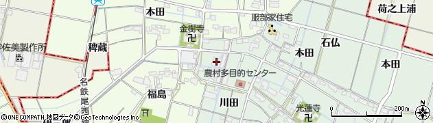 愛知県弥富市荷之上町川田周辺の地図