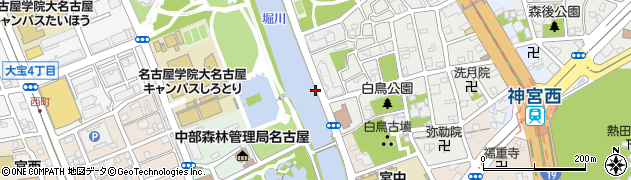 愛知県名古屋市熱田区熱田西町(白鳥)周辺の地図