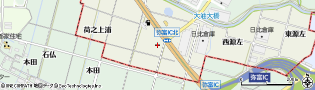 愛知県愛西市西保町(増右)周辺の地図