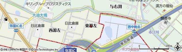 愛知県愛西市西保町(東源左)周辺の地図