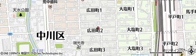 愛知県名古屋市中川区広田町周辺の地図