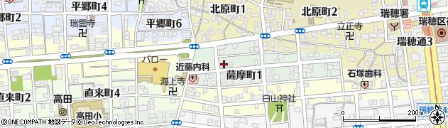 愛知県名古屋市瑞穂区薩摩町周辺の地図