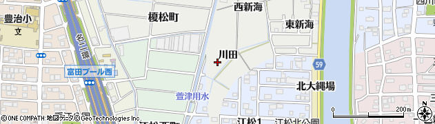 愛知県名古屋市中川区富田町大字榎津(川田)周辺の地図