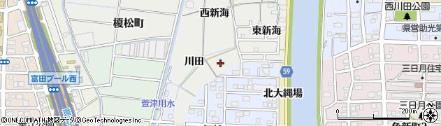 愛知県名古屋市中川区富田町大字榎津(戌新田)周辺の地図