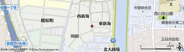 愛知県名古屋市中川区富田町大字榎津(東新海)周辺の地図