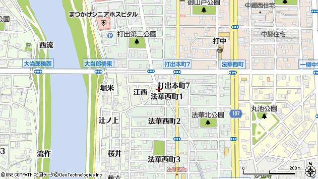 〒454-0924 愛知県名古屋市中川区打出町の地図