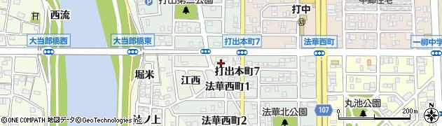 愛知県名古屋市中川区打出町(中切)周辺の地図