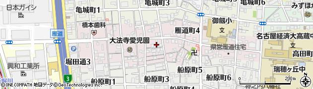 愛知県名古屋市瑞穂区雁道町周辺の地図