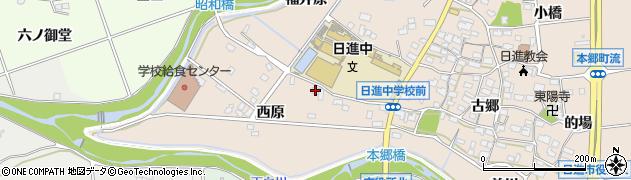 愛知県日進市本郷町(中西原)周辺の地図