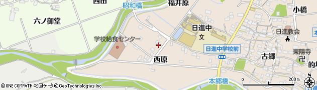 愛知県日進市本郷町(西原)周辺の地図