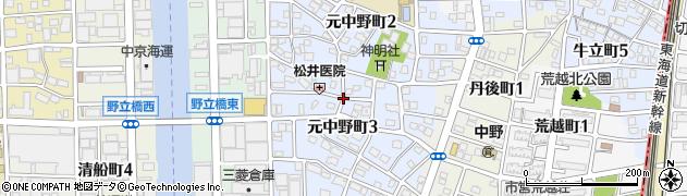 愛知県名古屋市中川区元中野町周辺の地図