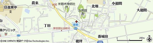 愛知県日進市米野木町(宮前)周辺の地図