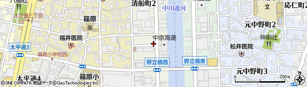 愛知県名古屋市中川区清船町周辺の地図